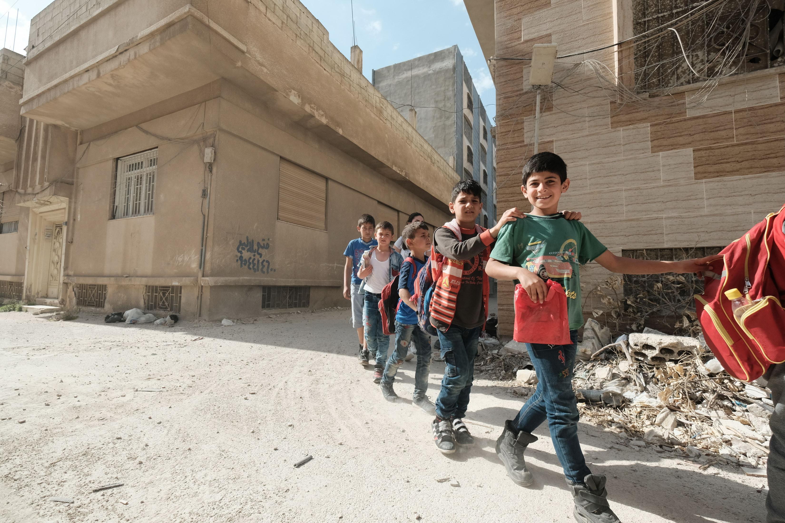 I bambini del centro di Homs in Siria